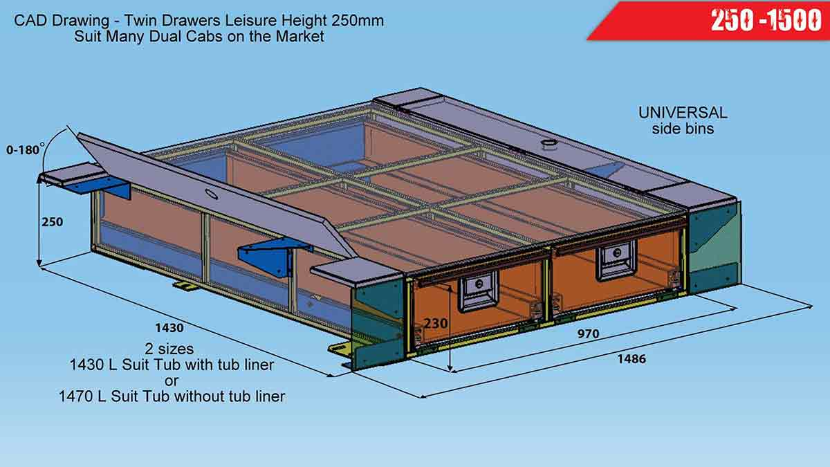 Steel Drawer Systems 250 X 1500 Leisure Height