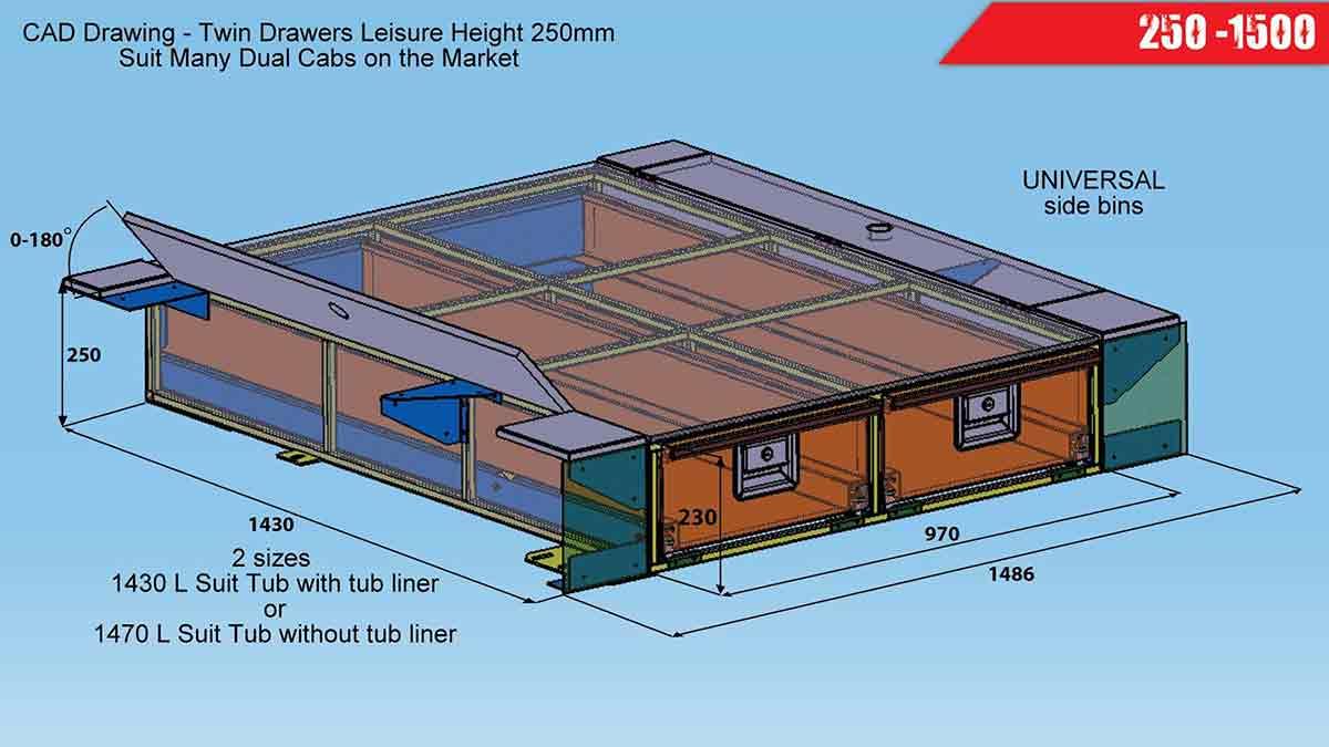 Nissan Navara Measurements >> Steel Drawer Systems 250 x 1500 Leisure Height