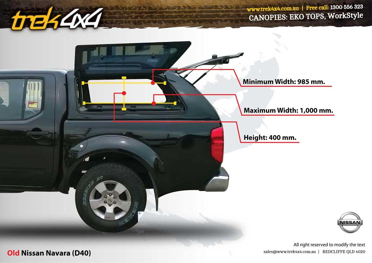 Nissan Navara D40 STX & RX Dual Cab Canopy