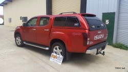 Isuzu D max EKO canopy in 546 Venitian Red rear angle