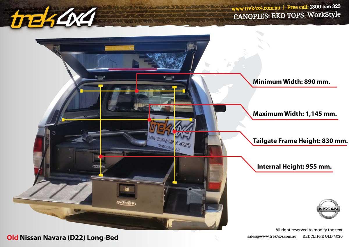 Nissan navara d22 tub dimensions