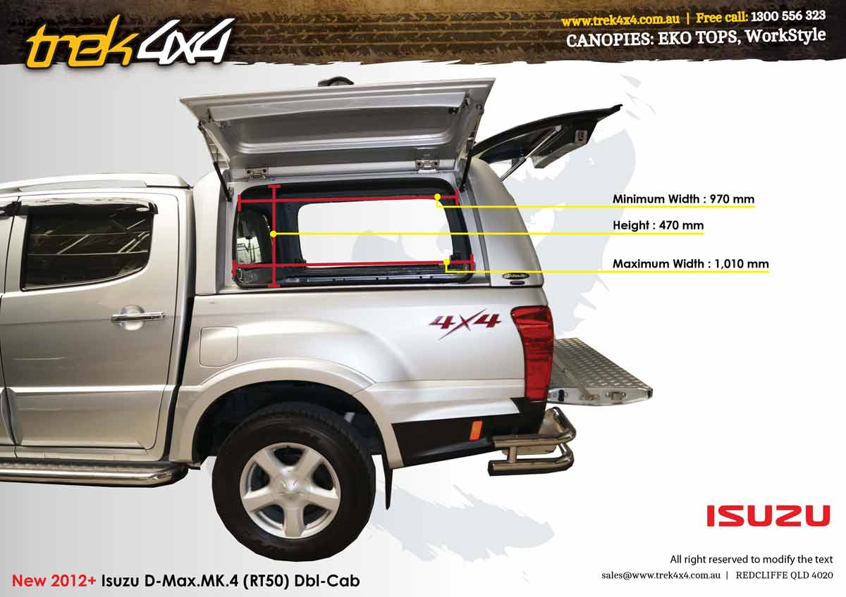 side-window-meauserement-workstyle-canopy-double-cab-isuzu- & Isuzu D-Max 2012 + Workstyle Canopy