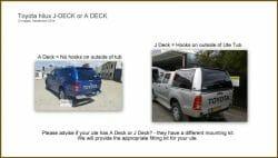 Hilux a deck to j deck