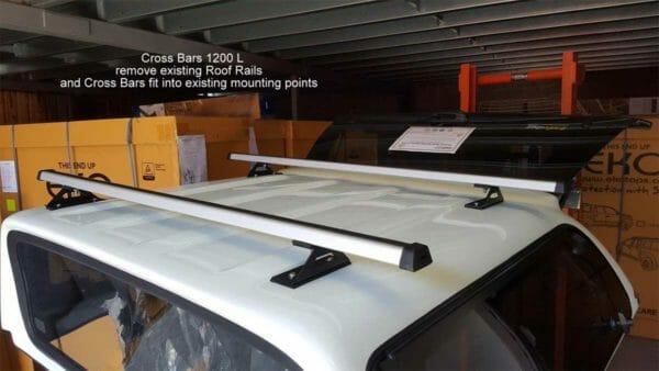 Trek Roof racks - Cross Bars 1200 L - Triton MQ in W32 White with EKO Canopy