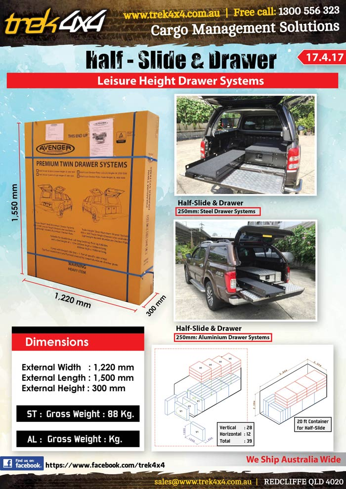 Dimensions for Half-Slide and Drawer Leisure Height - Drawer Systems