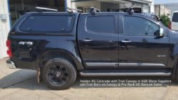 Holden RG Colorado with trek canopy in GQR Black Sapphire and Trek Bars